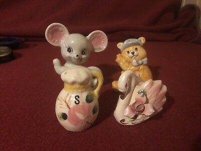 Four Odd Salt And Pepper Shakers 1950's ? Retro Vintage Cute Display