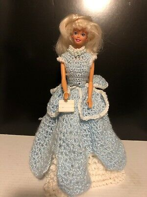 Vintage Barbie Doll With hand crocheted Blue And White ( Cinderella?) dress