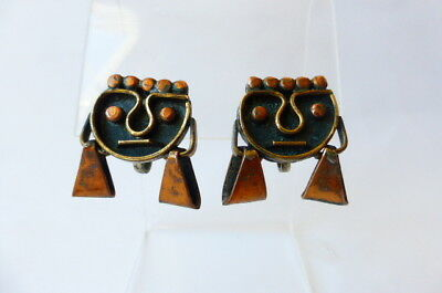 Vintage 1940s Mexican Face Mask Earrings Copper & Brass Hand Wrought Screw Backs