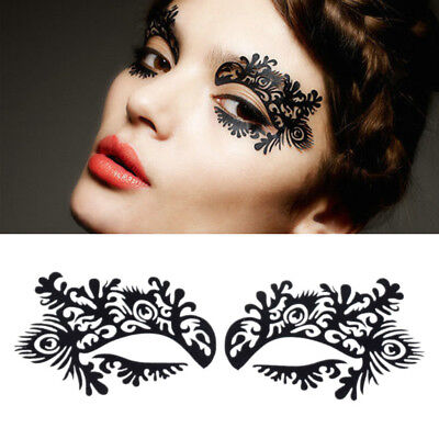 Retro Black Lace Veil Eyes Cover Sexy Half Face Mask Sticker Masquerade Cosplay