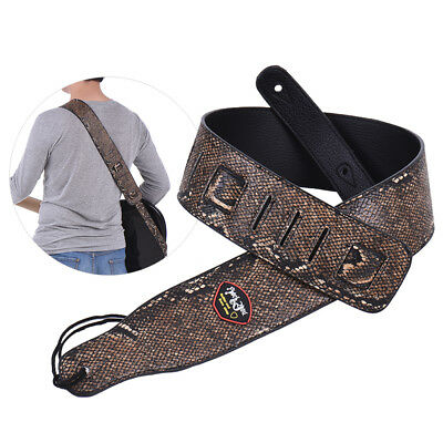 Adjustable Snakeskin PU Leather Strap for Acoustic Electric Guitar Bass F2I8