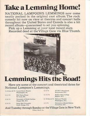 1973 National Lampoon Lemmings Album Ad/ Includes 1973 concert schedule