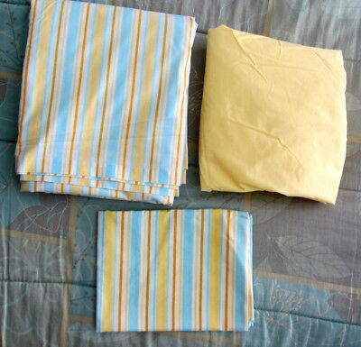 Vtg Penney Double Full Stripe Yellow Blue Fitted Flat Cases Sheets Sheet PERCALE