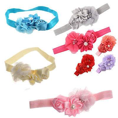 Baby Girl Headband Infant Chiffon Headdress Faux Pearl Hairband B3D6