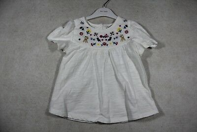 Baby Girl Size 000,00,0 Fox & Finch Summer White Tee With Embroidered Yoke NWT