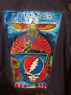 Custom Hand Painted OLD NAVY DENIM Jacket  Grateful Dead Steal your face