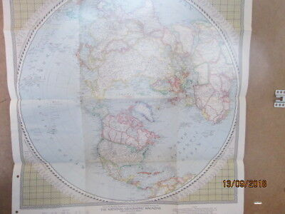 Vintage National Geographic Map Of The Northern Hemisphere Feb 1946