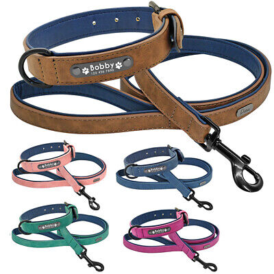 Leather Personalized Dog Collar and Leash Set Inner Padded Pet Name ID Collars