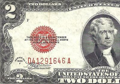 1928F $2 RED Seal Legal Tender *UNITED STATES NOTE* Old US Paper Money!