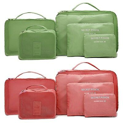 2 x 6Pcs Waterproof Travel Storage Bags Clothes Packing Cube Luggage Organizer