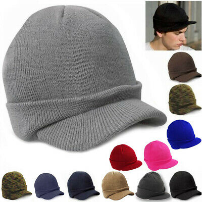 87b5f46ef48 Men Winter Baggy Crochet Visor Brim Beanie Ski Cap Women Black Knit Skull  Hat