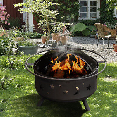 Outdoor Garden Fire Pit Firepit Brazier Cover Stove Patio Heater Bbq Grill Poker
