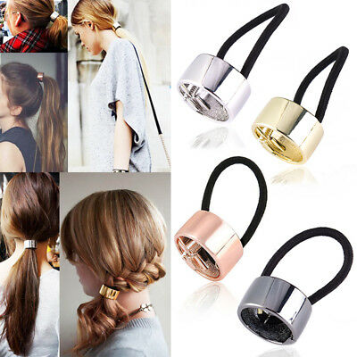 Chic Woman Metal Elastic Ponytail Holder Hair Cuff Wrap Tie Band Ring Rope