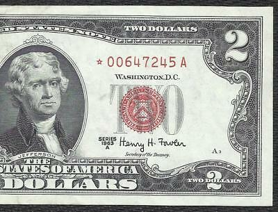 1963A $2 RED Seal *STAR* Legal Tender ~UNITED STATES NOTE~ Old US Paper Money!