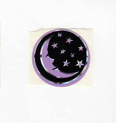 Vintage 80's Prism Prismatic Purple Crescent Moon Stars Small Sticker Sheet