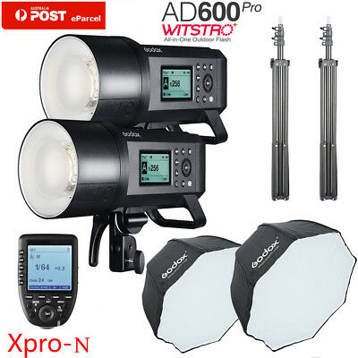AU 2*Godox AD600Pro TTL Flash+XPRO-N For Nikon+120cm Octagon Sofbox Light Stand