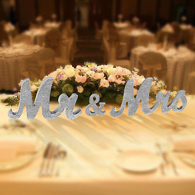 Mr & Mrs Wooden Letters Sign Standing Table Room Wedding Party Decor Gift Silver