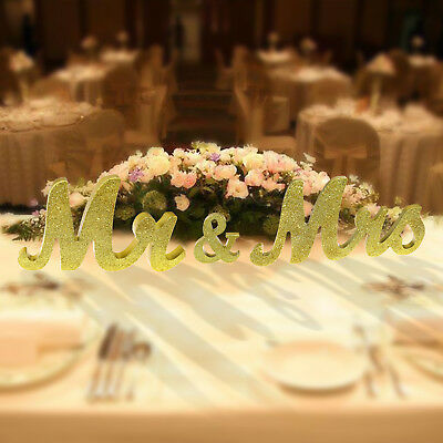 Mr & Mrs Wooden Letters Sign Standing Table Room Wedding Party Decor Gift Gold