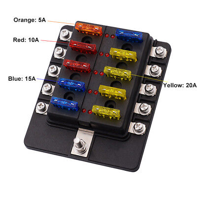 Waterproof Dustproof 32V 10 Way Circuit Blade Fuse Box with LED Indicator Light