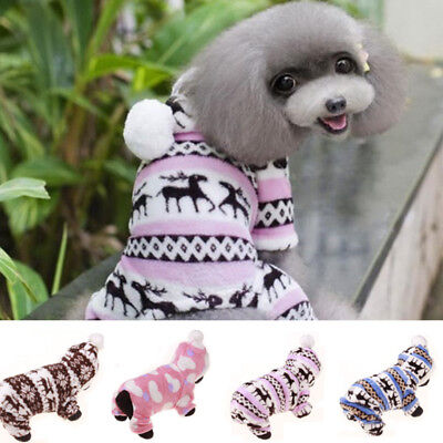 Cute Dog Coral Fleece Clothes Coat Pet Puppy Soft Warm Hoodie Jumpsuit Gift New