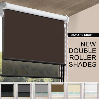 Modern Day/Night Double Roller Blind Commercial Quality 60-240cm(W) 210cm(D) NEW