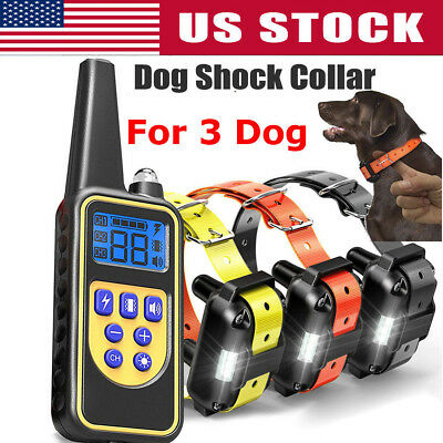 3 Dog Shock Training Collar Electronic Remote Control Waterproof 875 Yards Dogs