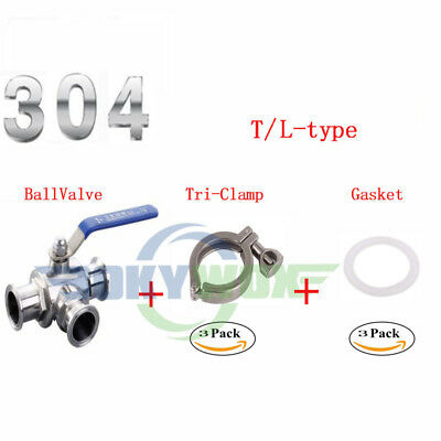 """3/4""""~4"""" 304 Stainless Three way Clamp Connection T/L Type Sanitary Ball valve"""