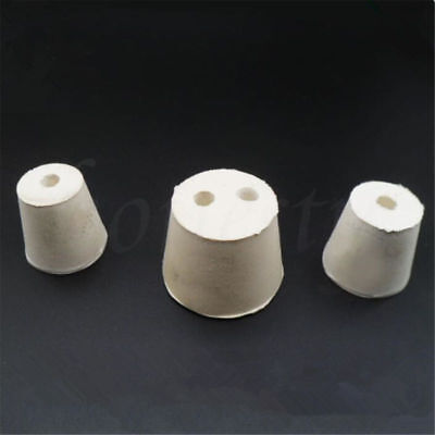 White Rubber Flask Test Tube Laboratory Cone Stoppers With 1 Holes Stopper