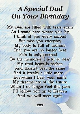 Dad On Your Birthday Memorial Graveside Poem Card With Free Ground Stake F177