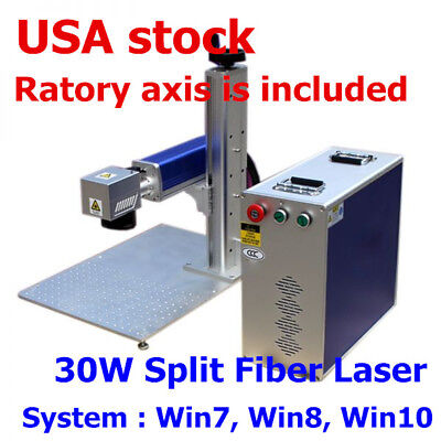 USA!!! 30W Split Fiber Laser Marking Engraving Machine, Ratory Axis Include