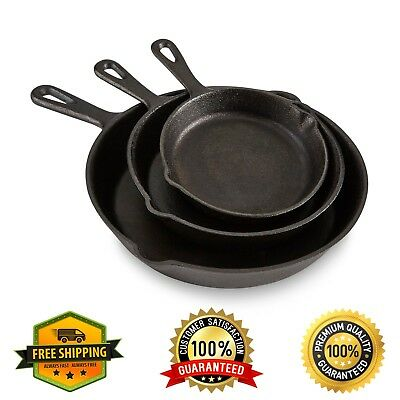 Pre-seasoned Cast Iron 3 Pcs Skillet Set Stove Oven Fry Pans Pots Cookware