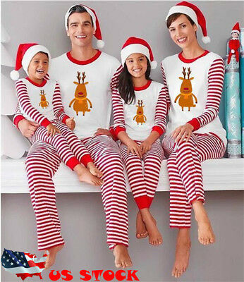 US Family Winter Pajamas Christmas Parent-child Clothes Long-sleeved Cotton Bear