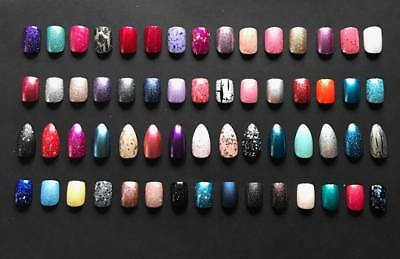 Hand Painted False Nails choose your colour! 14 nails 7 sizes & Free Glue!