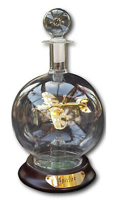 Stunning Glass Model Of A Spitfire In A Glass Decanter Gold Plated Aircraft New