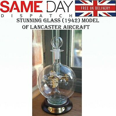Stunning Glass Model Of A Lancaster Aircraft In Glass Decanter Bomber Plane Gift