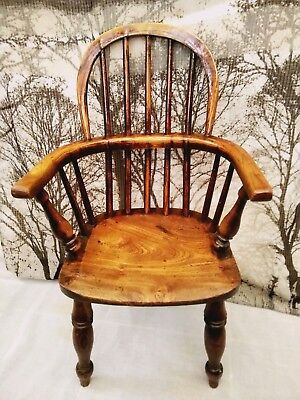 Antique Childs size Windsor chair early 19th century Great Patina Elm