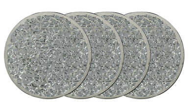 Set Of 4 Round Silver Mirror Mosaic Coasters Drink Cup Glass Beer Mat Tableware