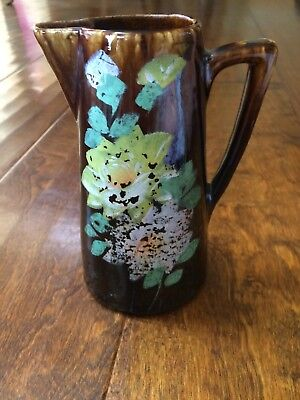"""Vtg JAPANESE BROWN PITCHER HAND PAINTED  FLORAL DESIGN 6""""  Pottery Distressed"""
