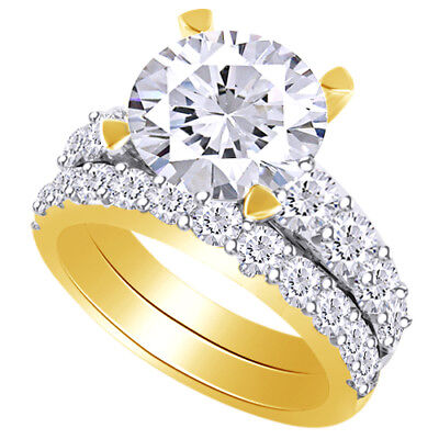 3.58 ct Brilliant Cut Diamond Engagement Ring Wedding Band Solid 14k Yellow Gold