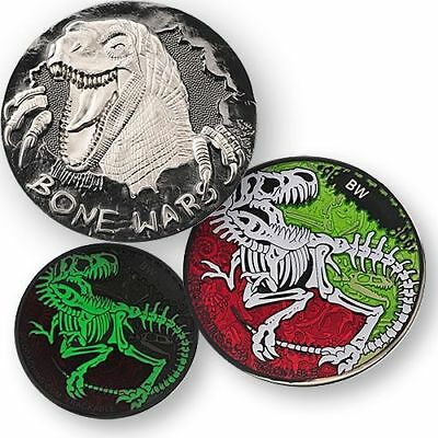 Bone Wars Geocoin - Black Nickel Dinosaurier Skelett Dino Geocaching Coin Tb