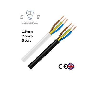 3183Y 1.5mm 2.5mm Electrical Cable Black White Round Mains Wire Flex 3 Core UK