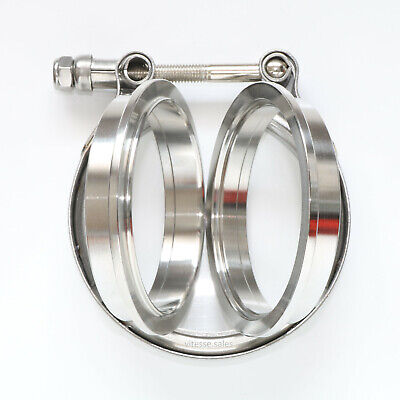 "3"" Inch 76mm V Band Stainless Steel Exhaust Flanges and Clamp 304 SS Joiner"