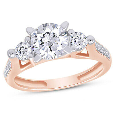 CERTIFIED 2.25 Ct Round Cut 3-Stone Wedding Ring Real Solid 14K Rose Gold