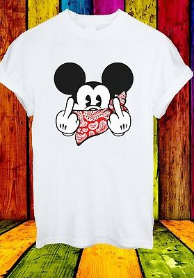 Mickey Mouse Thug Life Gangster Middle Finger Men Women Unisex T-shirt 2739