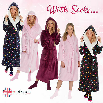 Ladies Women Baby Pink Soft Fleece Luxury Dressing Gown and Fluffy Socks Gift