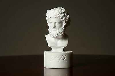 Bust of Olympian God Zeus carved Greek MARBLE statue figurine artist sculpture