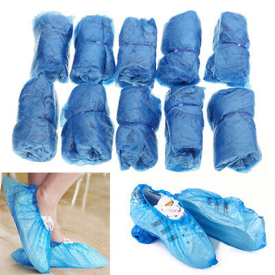 100X Boot Covers Plastic Disposable Shoe Covers Overshoes Medical Waterproof HF