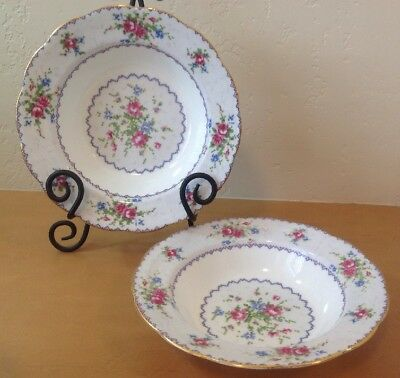 Royal Albert Petit Point Set Of 2 Rimmed Soup Cereal Bowls Needlepoint England