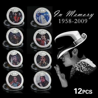 WR The King of Pop Michael Jackson Colored Silver Plated Coin MJ Souvenir Gifts