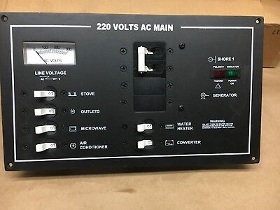 Shore Power AC Main Breaker Distribution Panel and Volt Gauge New